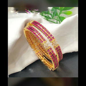 Ruby American Diamond Embellished Bangles
