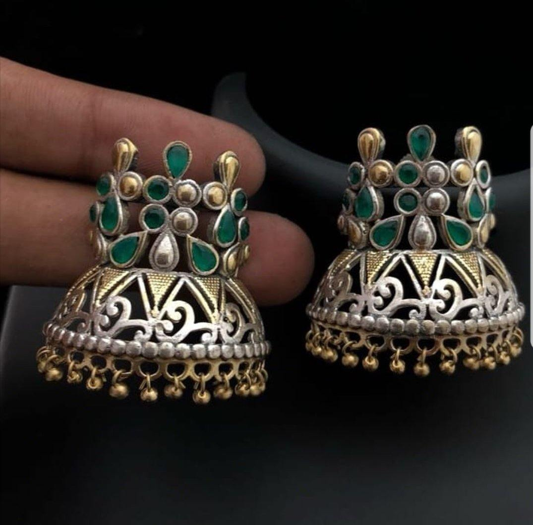 German silver Crown style stud earrings