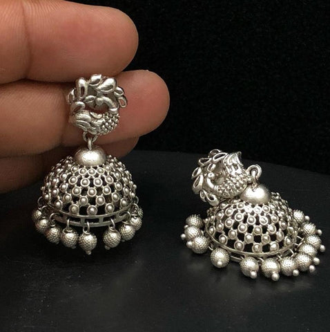 oxidised jhumki earrings