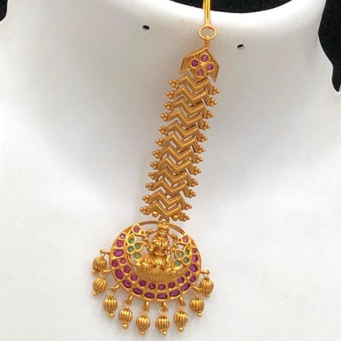 Temple patterned maang tikka with pearls and AD stones