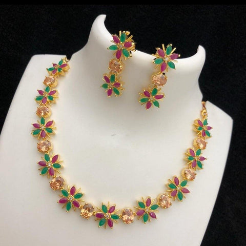 AD Floral Style Multi Stone Studded Neckset