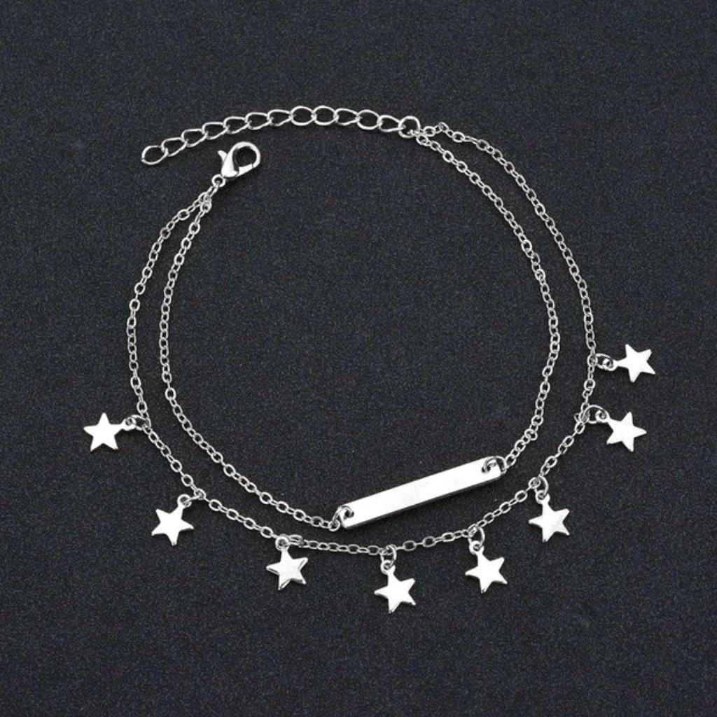 Star Charms Boho Anklets / Bracelet Style Heart Pendant Silver Chains
