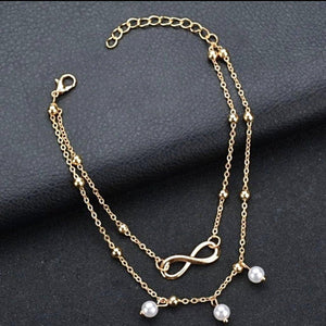 Gold and White Pearl Embellished Anklets / Bracelet Style Gold Chains