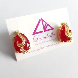 Red American Diamond Embellished Stud Earring