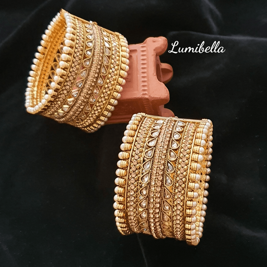 Pearl and Semi Precious Stone Embellished Gold Polished Kada Bangles