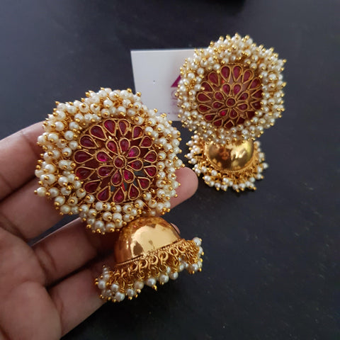 Big Ruby Kemp Style semi precious stone embellished Jhumka Jhumki Earrings