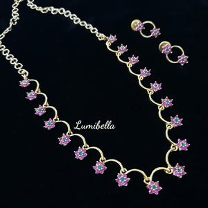 American Diamond Style Simple Floral patterned Neckset