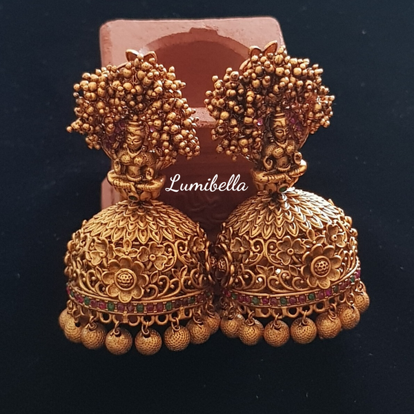 goddess lakshmi jhumki earrings