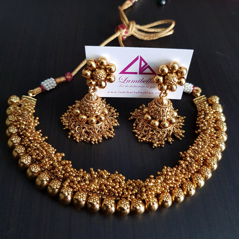 golden antique neck set
