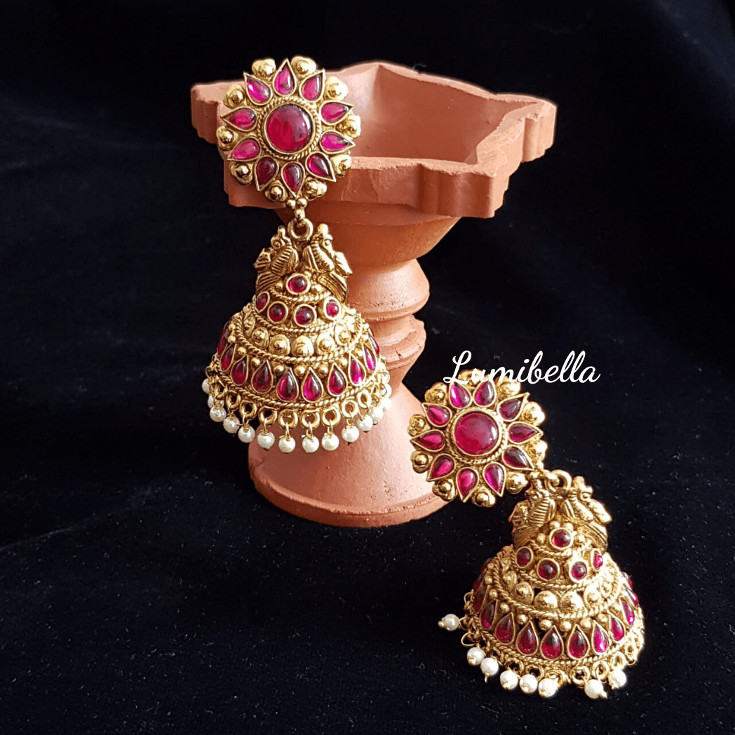 Antique style big jumki earrings