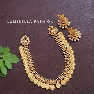 Kasu Mala Neckset With Jhumki Earrings
