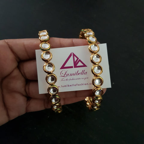 Kundan Bangles with Gold Polish