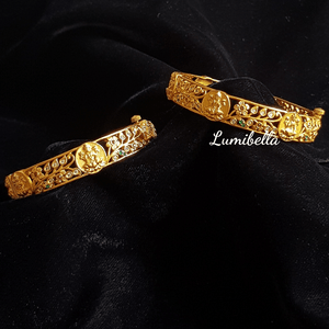 Laxmi Coin Style Matte Finish Bangles With American Diamonds