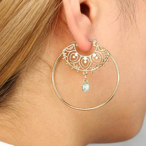 Hoop Gypsy Bohemian Spiral Drop Crystal Earrings