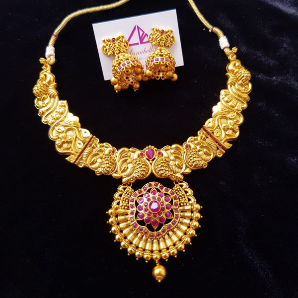 Traditional Matte Neckset with Ruby Stones