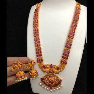 Peacock style matte gold polish long neckset with jhumki earrings