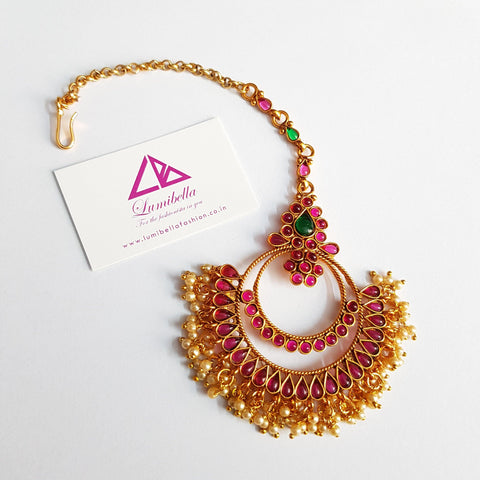 Antique Style Multi Color Maang Tikka With Pearls