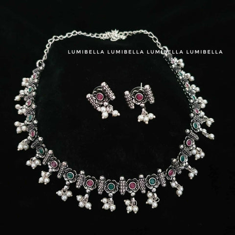 floral german silver neckset