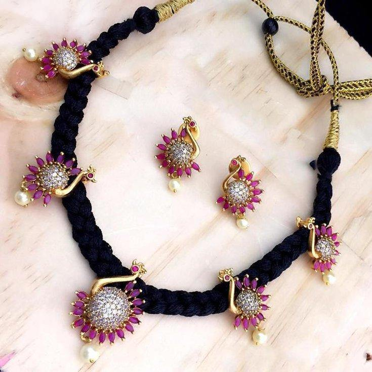 Black Thread Style Ruby American Diamond Pendant Studded Neckset