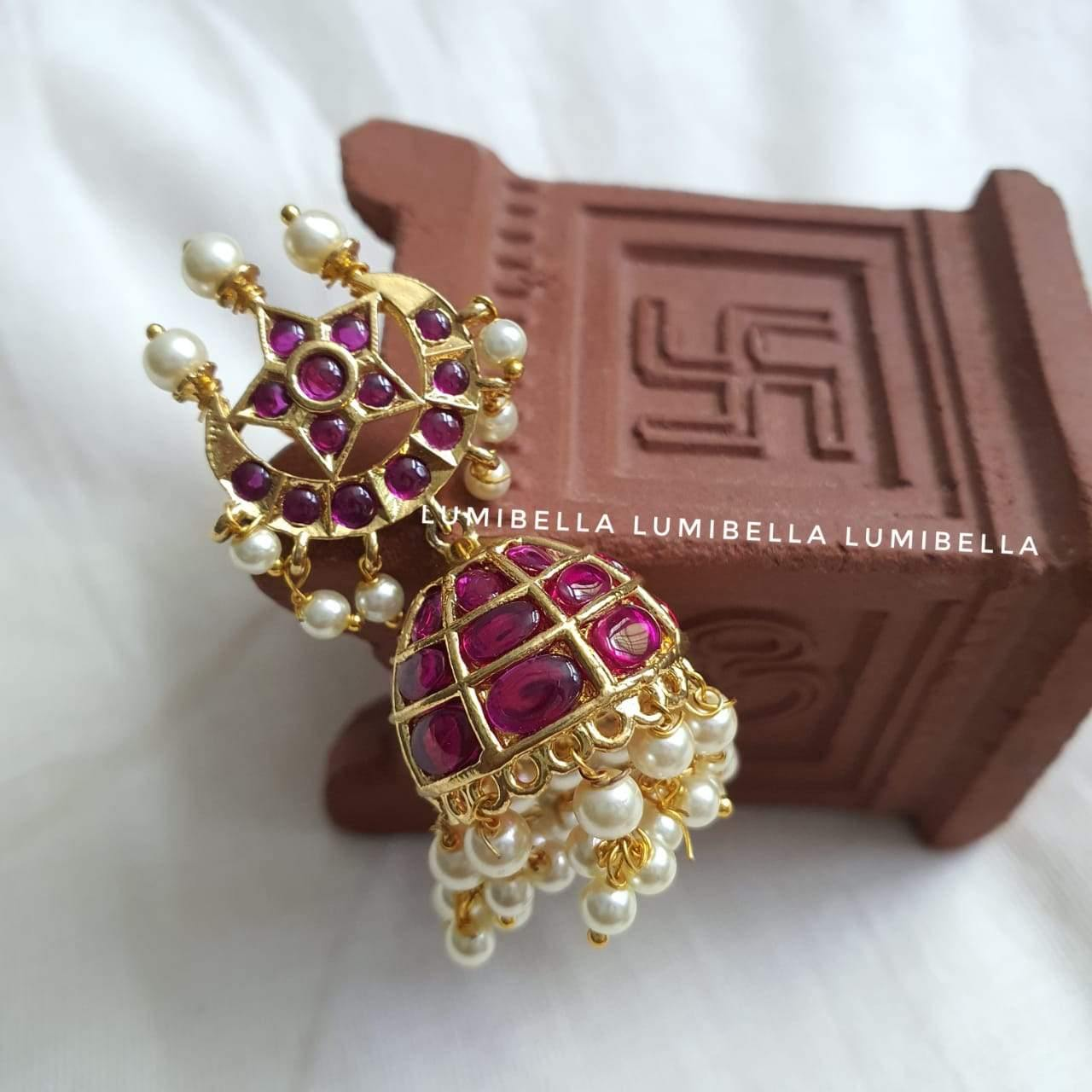 kemp jhumki earrings with pearls