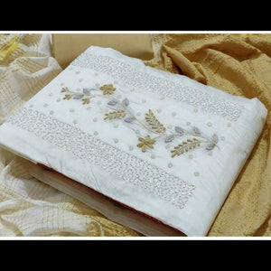 White Embroidery Cotton Salwar Material