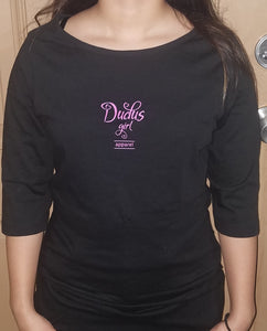 Ladies BLACK 3/4 Sleeve Blouse w/ pink logo
