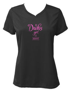 Ladies V-neck wicking tee - BLACK w/ Hot Pink logo