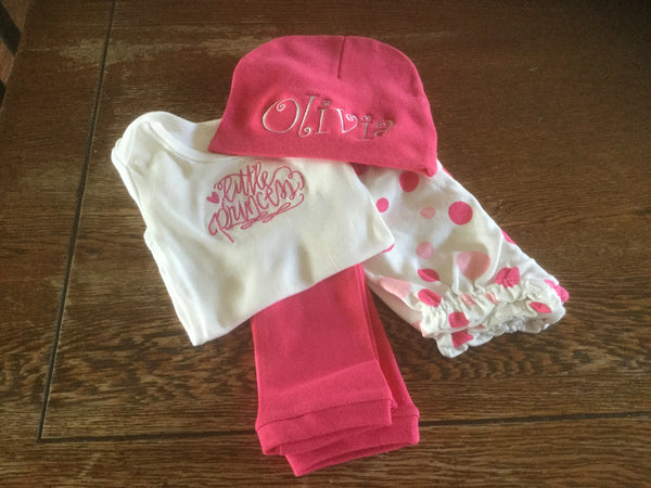 custom girl embroidered outfit