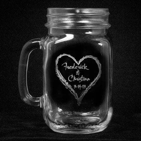 Engraved Mason Jar Mugs Country Wedding Favors Gifts Decor