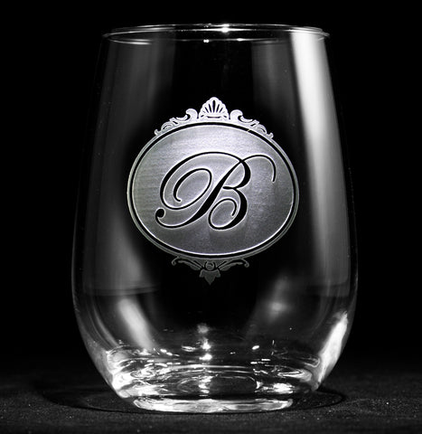 Monogram Stemless Wine Glass Gift