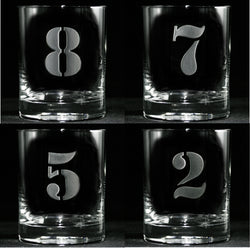 Engraved Numbered One through Eight Whiskey Glass Set