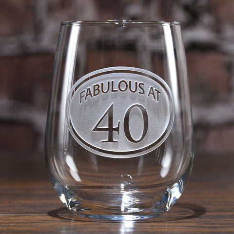 Engraved 40th Birthday Stemless Wine Glass