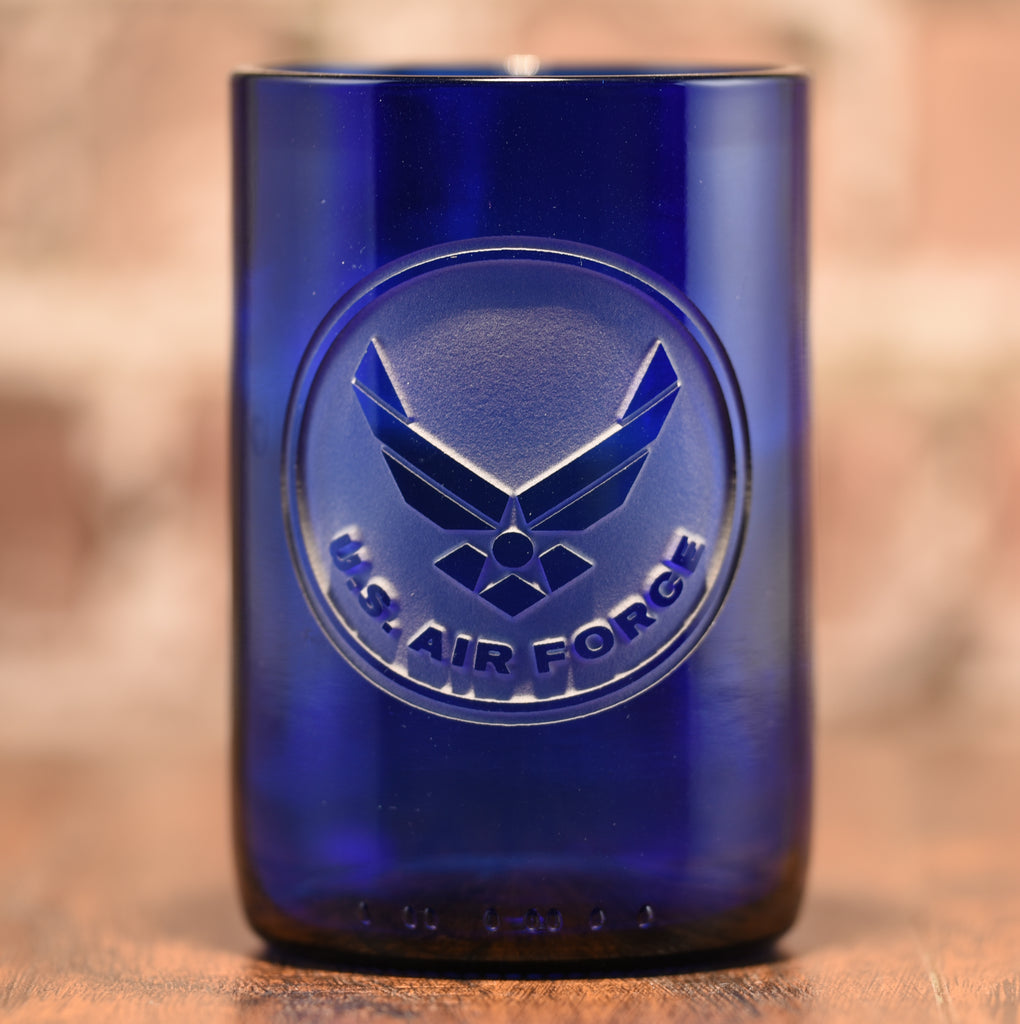 Air Force Gift for Airman, Engraved Recycled Blue Wine Bottle Glass