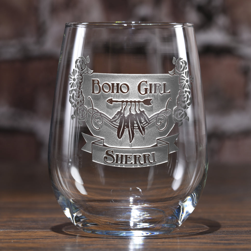 Gypsy Bohemian Hippie Stemless Wine Glass Gifts for Her