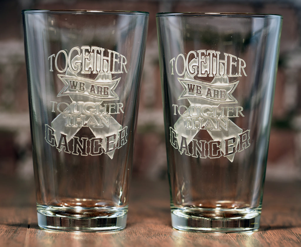 Tougher Than Cancer Pint Glass Glassware Set