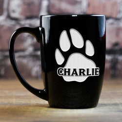 Dog's Name and Paw Print on Engraved Coffee Mug Gift for Pet Lovers