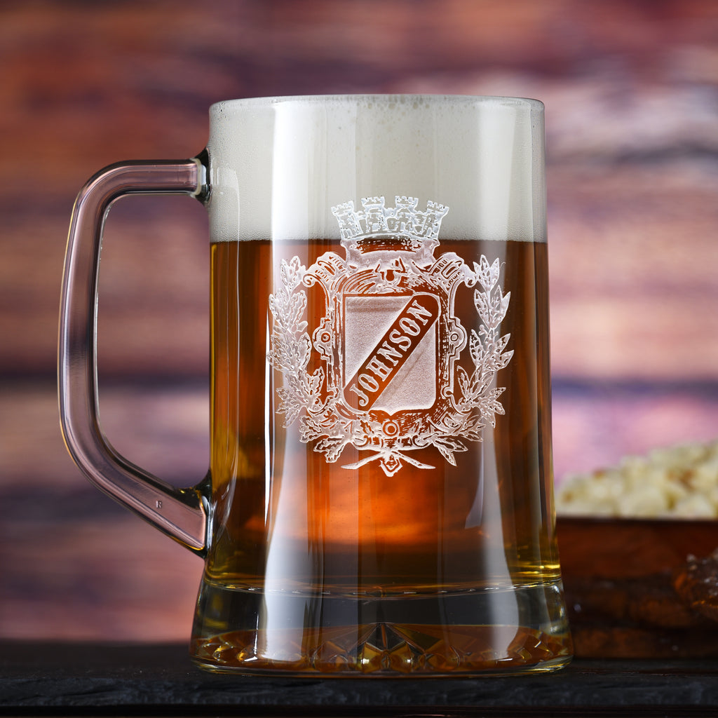 Family Crest Beer Mug, Coat of Arms Mug