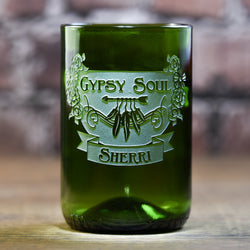 Green Recycle Wine Bottle Glass, Bohemian Girl Hippie Gifts for Her