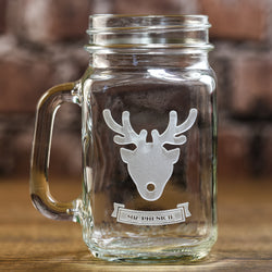 Personalized Reindeer Christmas Mason Jar Mug