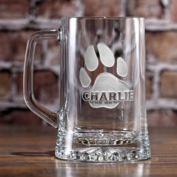 Dog's Name and Paw Print on Beer Mug, Dog Lover Gifts