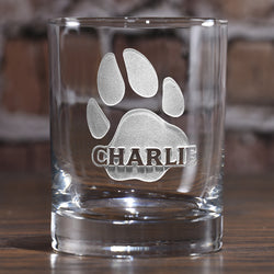 Dog's Name and Paw Print on Whiskey Glass Gift for Puppy Lovers