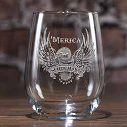 Patriotic USA 'Merica Stemless Wine Glass
