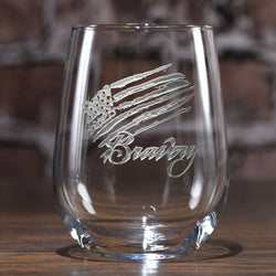 Bravery Flag Stars and Stripes Stemless Wine Glass