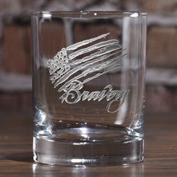 Bravery Flag Stars and Stripes Whiskey Glass
