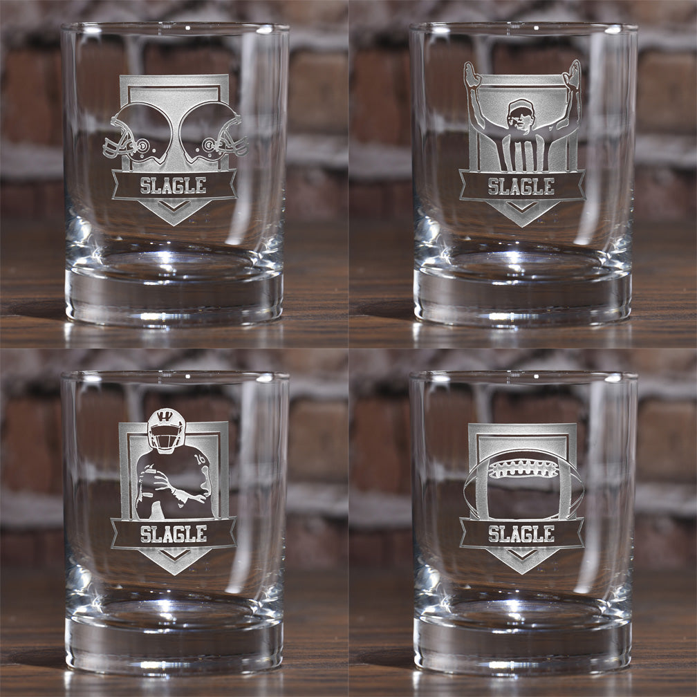 Football Game Super Bowl Fans Whiskey Glass Set