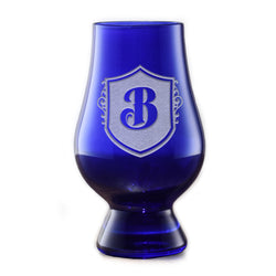 Engraved Blue Glencairn Whisky Glass With Crest