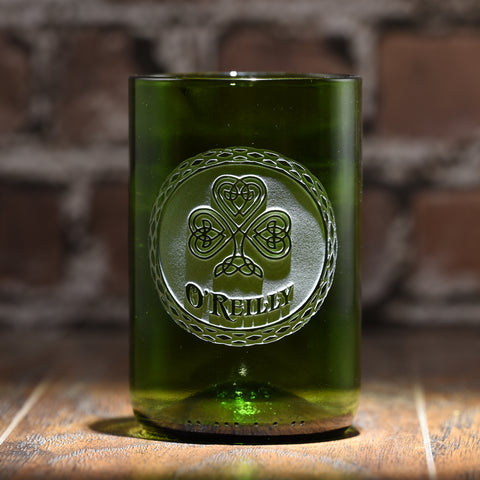 Irish Green Recycle Wine Bottle Glass Tumbler, St Patrick's Day Gift