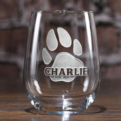 Dog's Name, Paw Print Engraved Stemless Wine Glass Gift for Pet Lovers