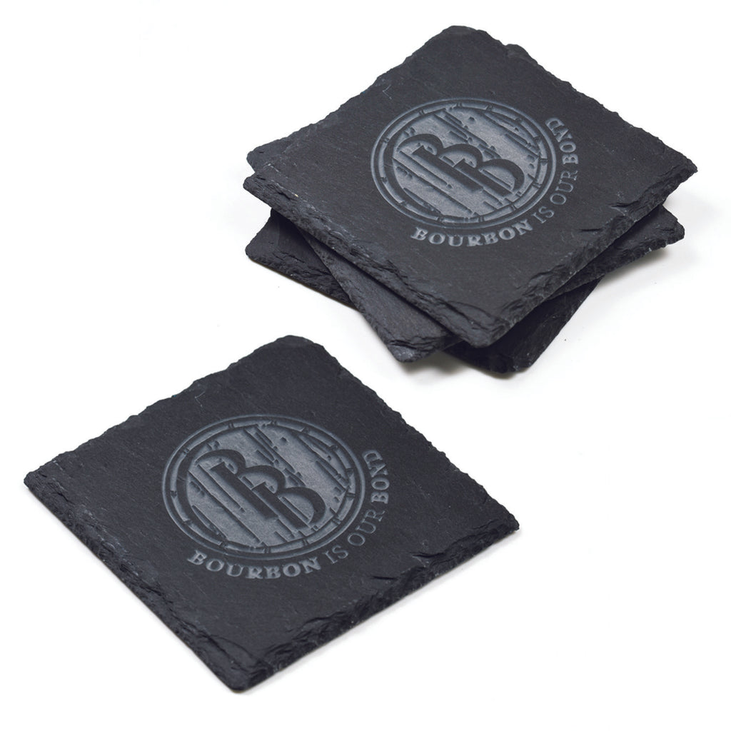 Logo Slate Coasters, Engraved SET of 4