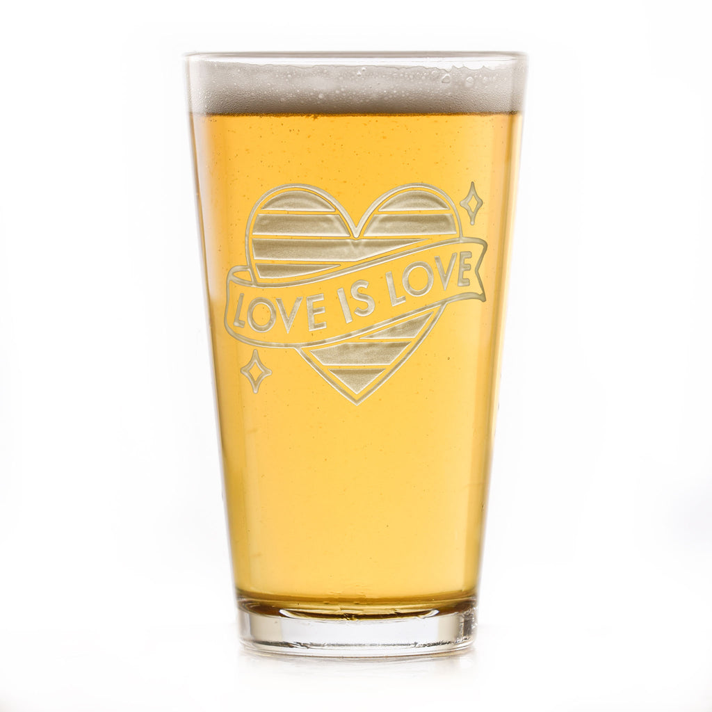LGBTQ Pride Gifts, Etched Pub Pint Beer Glasses